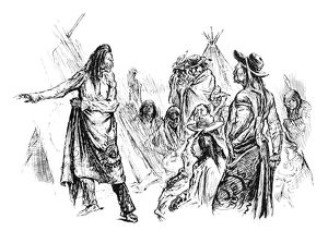NATIVE AMERICAN PEACE TALK. A Native American chief discussing negotiations of peace