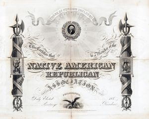 NATIVIST CERTIFICATE, c1845. Membership certificate for the Native American Republican