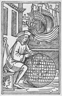 NAVIGATOR, 1523. Woodcut, 1523, from the title-page of a book about the voyages