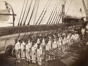 NAVY DRILL, c1885. Company drill on the deck of the steam sloop of war USS Mohican