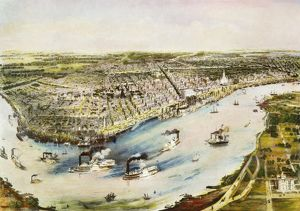 NEW ORLEANS, 1851. Bird's eye view of the city of New Orleans. Lithograph, 1851