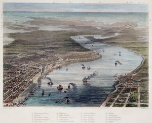NEW ORLEANS Bird's-Eye view of New Orleans. Steel engraving, American, 1863