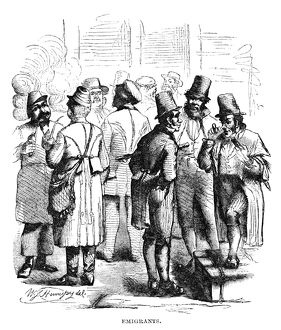 NEW YORK: IMMIGRANTS, 1858. Immigrant men in New York City. Wood engraving, American