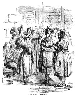 NEW YORK: IMMIGRANTS, 1858. Immigrant women in New York City. Wood engraving, American