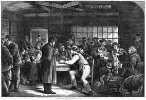 NEW YORK: IMMIGRANTS, 1870. Interior of an immigrant boarding house in New York City
