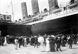 NEW YORK: LUSITANIA, 1907. The Cunard steamship 'Lusitania' at the pier in