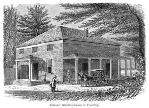 NEW YORK: MEETINGHOUSE. A Quaker meetinghouse in Flushing, New York. Engraving