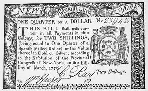 New York State two shilling paper bill, 1776.