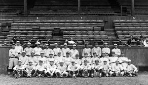 NEW YORK YANKEES, c1921. The New York Yankees baseball team, with Babe Ruth in the center