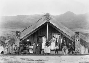 NEW ZEALAND: MAORI. A group of Maori people in New Zealand standing in front of