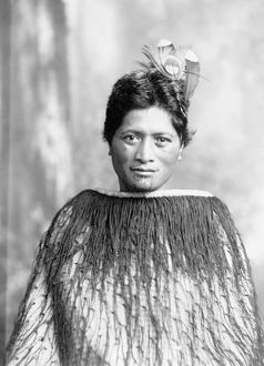 NEW ZEALAND: MAORI NATIVE. A portrait of a Maori in native clothing with feathers