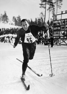 Norwegian Olympic cross-country skier. Photographed c1952