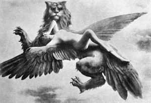NUDE AND GRIFFIN, 1890s. /n'Triumph of the Dragon.' Nude study