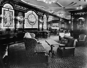 OCEAN LINER: INTERIOR, 1912. Smoking room of the British ocean liner RMS 'Olympic