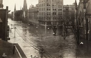 OHIO: FLOOD, 1913. Flood waters on Ludlow Street in Dayton, Ohio, during the Great