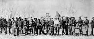OKLAHOMA LAND RUSH, c1888. Troop C of the 5th Cavalry, which arrested boomers