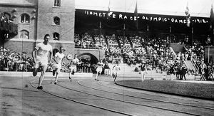 OLYMPIC GAMES, 1912. Runners competing in the 110 meter event during the 5th Olympic