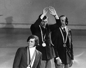 OLYMPIC GAMES, 1976. Sergey Savelyev of the Soviet Union waves from the winners&#39