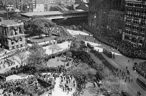 OLYMPICS PARADE, 1908. Parade of athletes, marchers and spectators at City Hall Park