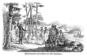 OREGON: MISSIONARY, 1853. A missionary preaching to Native Americans in Oregon