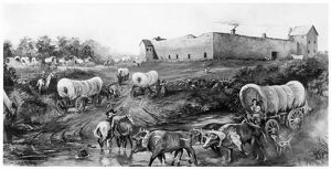 OREGON TRAIL: EMIGRANTS. A party of emigrants arriving by wagon train at Fort Hall