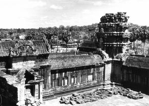 A partial view of the Angkor Wat ruins, 1960.