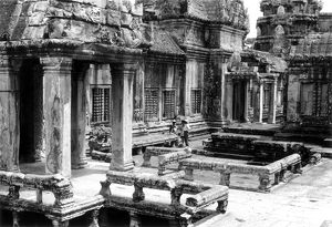 A partial view of the Angkor Wat ruins in Cambodia, 1960.