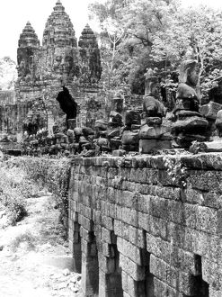 A partial view of the ruins of the Bayon temple, Angkor Thom at Angkor, Cambodia, 1960.