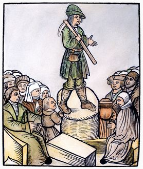 PEASANT PREACHER, 1524. A peasant delivering a sermon at Nuremberg, Germany. Woodcut