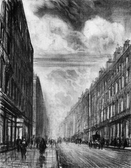 PENNELL: LONDON, c1908. Baker Street in London, England. Drawing by Joseph Pennell