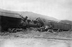 PENNSYLVANIA: FLOOD, 1911. A wrecked railroad train in Austin, Pennsylvania, after