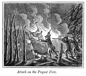 PEQUOT MASSACRE, 1637. The destruction of the Pequots and their fort near Stonington
