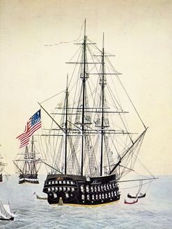 PERRY'S EXPEDITION TO JAPAN. One of the ships in Commodore Matthew Perry's