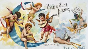 PIANO TRADE CARD, c1880. American merchant's trade card, c1880, for 'Vose & Sons Pianos