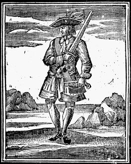 PIRATE: JOHN RACKAM, 1725. Pirate, also known as 'Calico Jack.' English woodcut