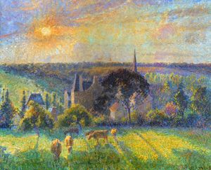 PISSARRO: ERAGNY, 1895. Camille Pissarro: Landscape at Eragny. Oil on canvas, 1895.