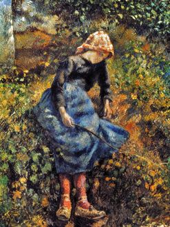 PISSARRO: GIRL, 1881. Camille Pissarro: Girl with a Stick. Oil on canvas, 1881.