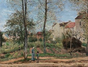 PISSARRO: HOUSES, 1870. 'Houses at Bougival (Autumn)