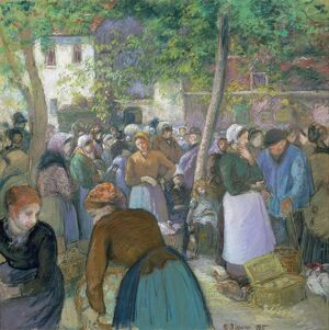 PISSARRO: THE MARKET, 1885. 'The Market in La Volaille, Gisors.' Oil on canvas