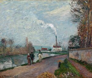 PISSARRO: THE OISE, 1876. 'The Oise Near Pontoise in Grey Weather.' Oil on canvas