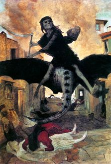 The Plague. Tempera on varnished pine, 1898, by Arnold Böcklin.