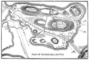 Plan of the Battle of Bunker Hill during the American Revolutionary War, 17 June 1775