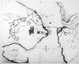 Plan of Fort Ticonderoga, New York, during the Revolutionary War, showing a bridge