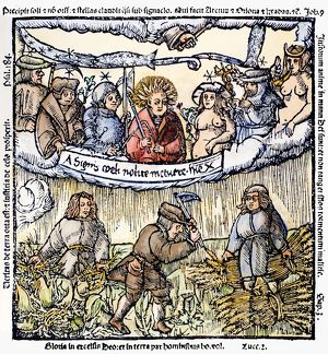 PLANETS AND FARMERS, 1524. The seven planets as protectors of farmers. Woodcut by V