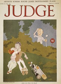 Playful golfers by John Held, Jr., on the cover of 'Judge,' 1923