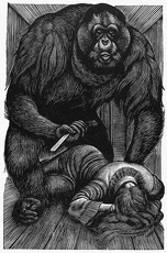 POE: RUE MORGUE, 1841. Wood engraving by Fritz Eichenberg for a 1944 edition of Edgar