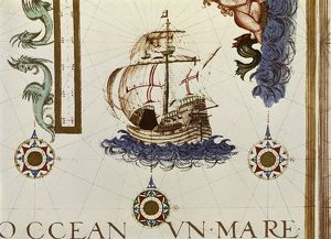 PORTUGUESE CARAVEL. A Portuguese caravel ship. Detail of a map, 15th-17th century