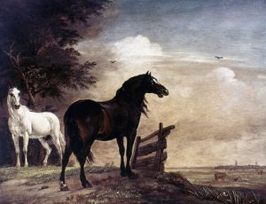 POTTER: HORSES, 1649. Horses In a Field. Painting by Paul Potter.