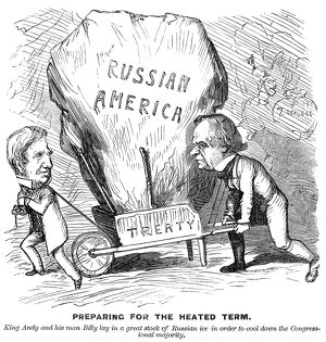'Preparing for the heated term.' American cartoon, 1867, on the purchase