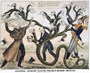 President Andrew Jackson destroying the Bank of the United States. Lithograph cartoon